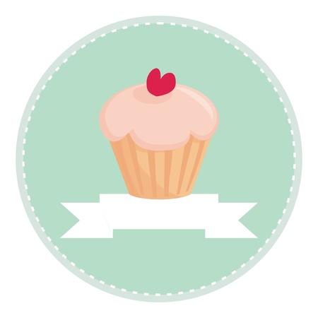 Dulce retro cupcake panecillo con el corazón en la parte superior, el vector aislados sobre fondo blanco, con lugar para el botón de texto, logotipo o tarjeta de invitación