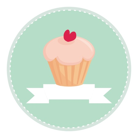 Sweet retro cupcake muffin with heart on top, vector isolated on white background, with place for your own text  Button, logo or invitation card  Illustration
