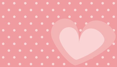 Pink heart with polka dots background vector illustration