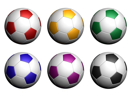 Red, yellow, green, blue, violet and black soccer balls on white background. photo