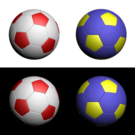White and red, yellow and blue soccer balls in national Polish and Ukraine colours isolated on white and black background photo