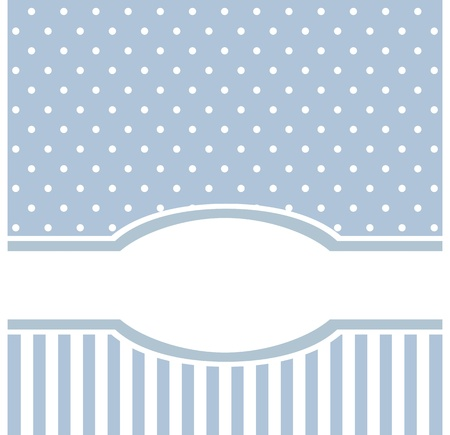 bebe azul: Tarjeta de dulce vector azul o una invitaci�n para el cumplea�os o una fiesta de bienvenida al beb� con las tiras y los lunares. De fondo linda con el espacio en blanco para poner el texto