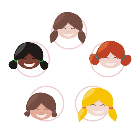 Happy multicultural girls group vector illustration of community, cooperation, globalization and global network.