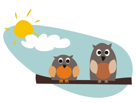 Funny, staring owls sitting on branch on a sunny day vector illustration isolated on white background. Cute, cartoon symbol of wisdom.