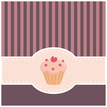 Sweet, retro, pink and violet card with muffin cupcake and vertical strips.  Vector
