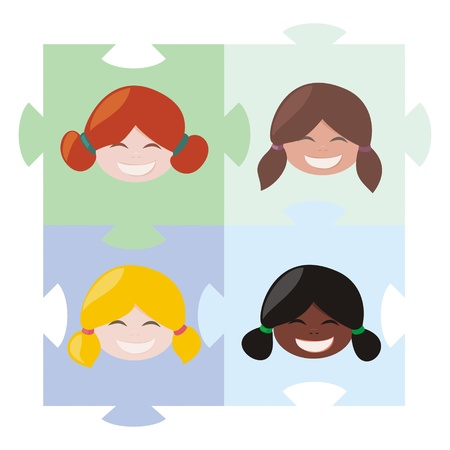 Happy multicultural girls matching on the puzzle illustration. Teamwork, cooperation, partnership or globalization and union symbol Vector