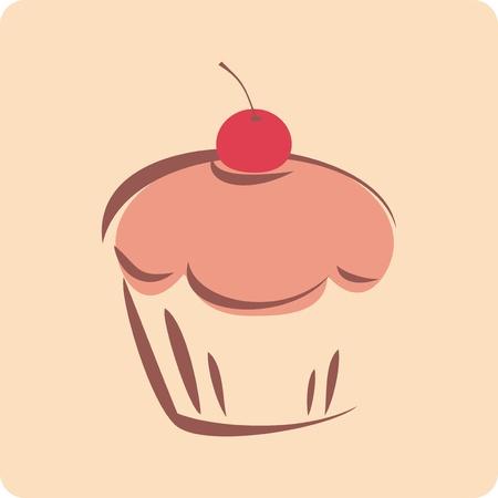 logo de comida: Sweet silueta retro cupcake con color rojo cereza en el fondo. Me encantan los dulces! Boda o cumplea�os dulce bollo. Ilustraci�n vectorial Vectores