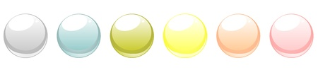 Collection of blank glowing web buttons in six fresh pastel colours Vector