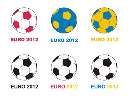 Euro 2012 soccer championship balls in national colors: blue, yellow, red and white