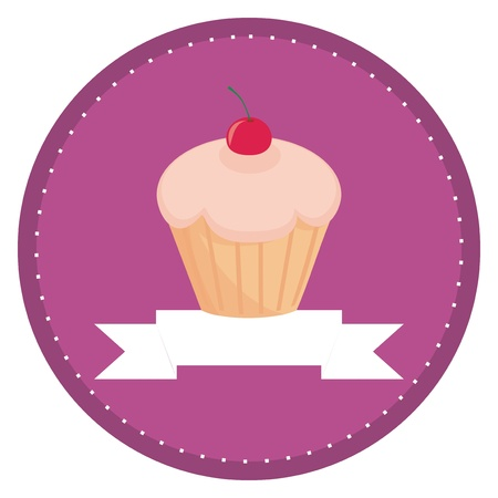 Sweet retro cupcake with cherry on top and violet background with white place for your own text. Button, logo or invitation card. Vector illustration Vector