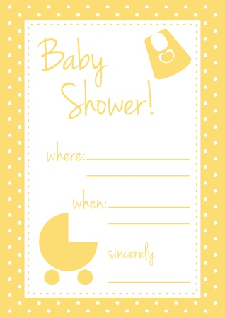 Baby shower card or invitation. Unisex, yellow illustration with polka dots and white background place to put text message Vector