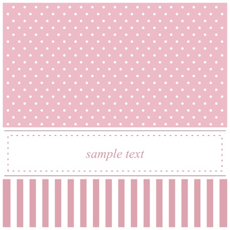 Sweet pink vector card, baby shower or wedding invitation with polka dots and white background to put your own text message