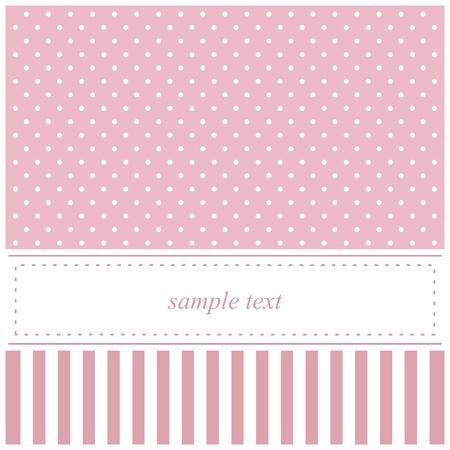Tarjeta de dulce de vectores de color rosa, baby shower o invitación de la boda con los lunares y el fondo blanco para poner su propio mensaje de texto