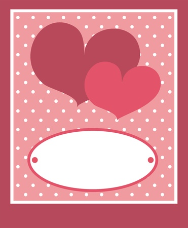 amorous: Cute pink heart with dots background and white space to put your own text message. Card or invitation; vector illustration Illustration