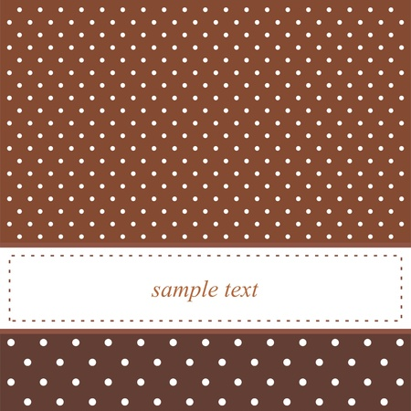 Brown background with white polka dots - card or invitation. Cute background with white space to put your own text message. Vector illustration