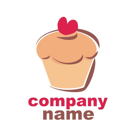 Sweet retro cupcake muffin silhouette with red heart isolated on white background Vector logo for candy shop, bakery or other company