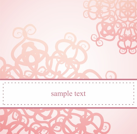Classic elegant card or invitation for party, birthday, baby shower or wedding with pink floral abstract ornament and white space to put your own text message  Vector