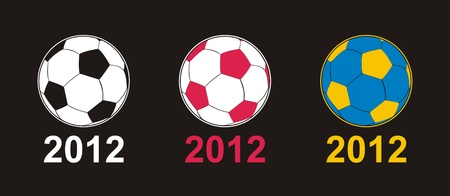 European football championship 2012 - soccer ball with Poland and Ukraine national colors from flags. Vector