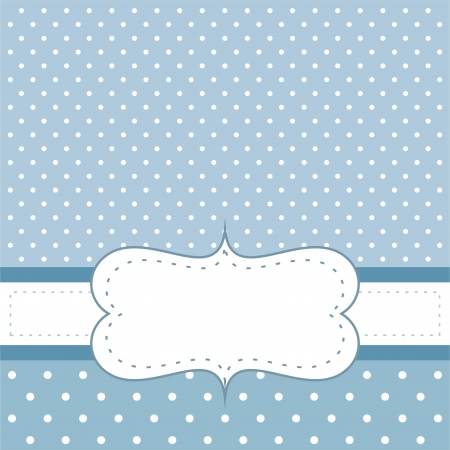 Sweet, blue polka dots card or invitation. Cute background with white space to put your own text message. Cocktail party, birthday, baby shower or other Vector