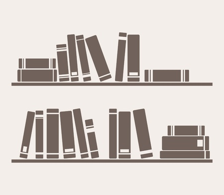 図書館: 書籍の棚にベクトル単にレトロなイラスト。インテリアの壁紙のテクスチャや背景の装飾用ビンテージのオブジェクト。