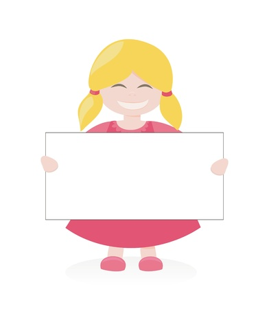 Vector, blond girl smiling and holding and showing big empty page add isolated on white background. Happy kid with a banner Vettoriali