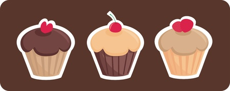 Sweet retro chocolate and toffi cupcakes silhouettes with red cherry, heart and strawberries on top isolated on dark brown background. I love sweets! Wedding or birthday sweet muffins logo - vector illustration. Vector