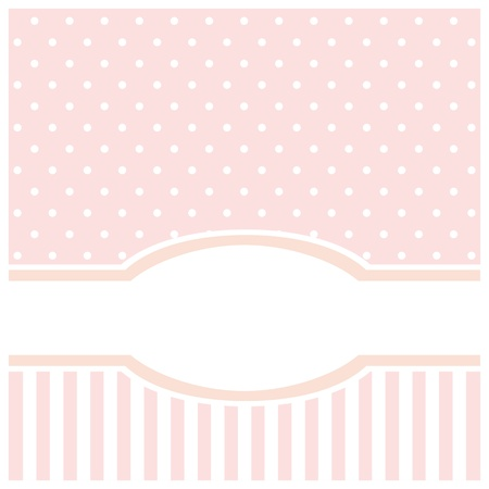 Sweet pink card or invitation for birthday or baby shower party with strips and polka dots. Cute background with white space to put your text Illustration