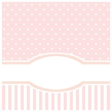 Tarjeta de dulce de color rosa o una invitación para el cumpleaños o una fiesta de bienvenida al bebé con las tiras y los lunares. De fondo linda con el espacio en blanco para poner el texto