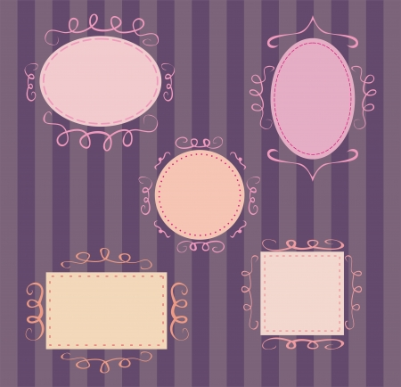 Collection of sweet retro frames on dark background Vector