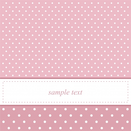 Pink card invitation for baby shower or birthday party with white polka dots.  Vector