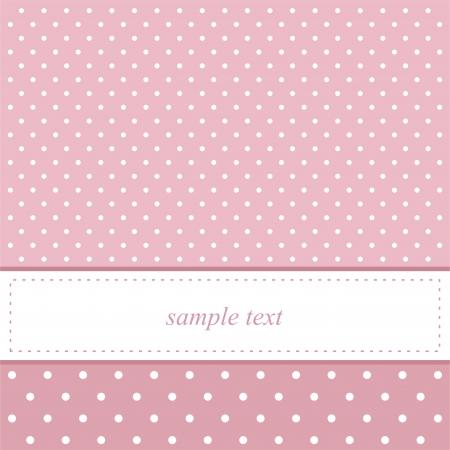 Tarjeta de invitación de color rosa para baby shower o fiesta de cumpleaños con lunares blancos.