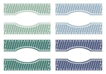 Élégants boutons web modernes, étiquettes ou des étiquettes de couleurs vertes et bleues. Fond doux avec des bandes blanches et de l'espace pour mettre votre propre message textuel. Vecteur
