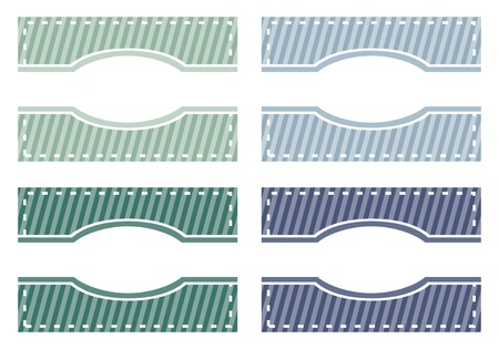 Elegant modern web buttons, tags or labels in green and blue colors. Sweet background with white strips and space to put your own text message. Vector