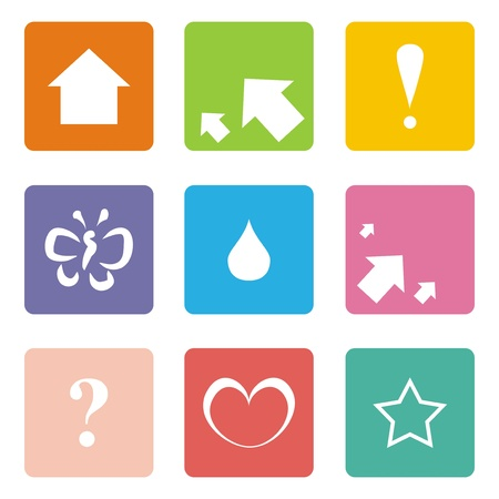 Vector icons isolated on white background. Arrows, left, right, up, question mark, exclamation mark, heart, drop, butterfly and star Vector