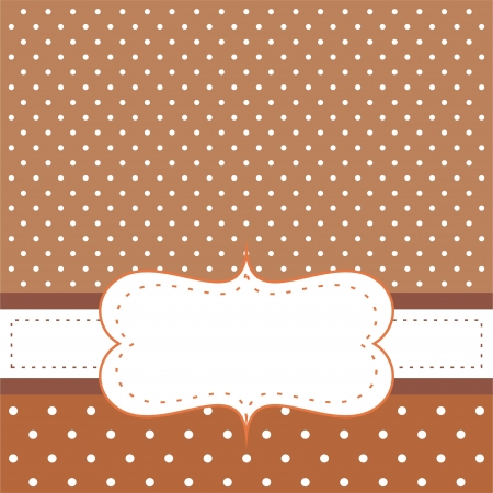 Brown background with polka dots - card or invitation  Cute background with white space to put your own text message  Vector illustration