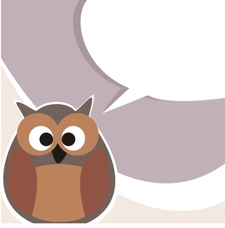 Vector, sweet and funny owl talking, giving instructions  Symbol of wisdom enlightening people