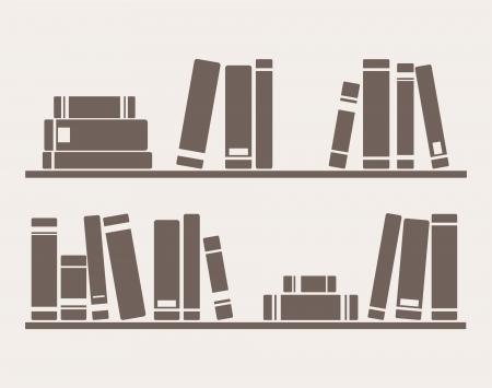Bücher in den Regalen einfach Retro-Illustration. Weinlese-Objekte für Dekorationen, Hintergrund, Texturen oder Interior Design Tapeten. Standard-Bild - 13964293