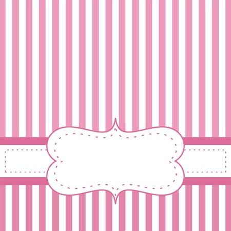Pink card invitation for baby shower, wedding or birthday party with white stripes. Cute background with white space to put your own text. Vector illustration