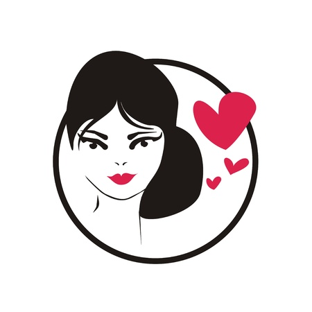 longing: Young, hand drawn in simply glamour design style, thinking woman with black hair and hearts. Vector illustration isolated on white background. Girl with love on her mind icon