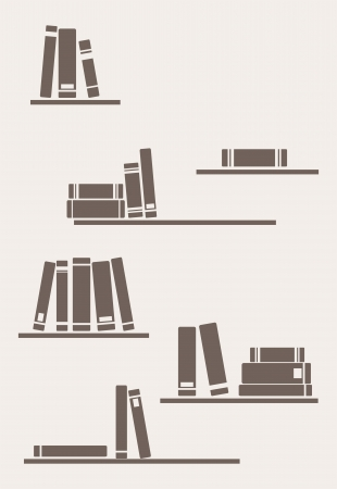 public library: Books on the shelves simply retro illustration. Vintage objects for decorations, background, textures or interior wallpaper Illustration