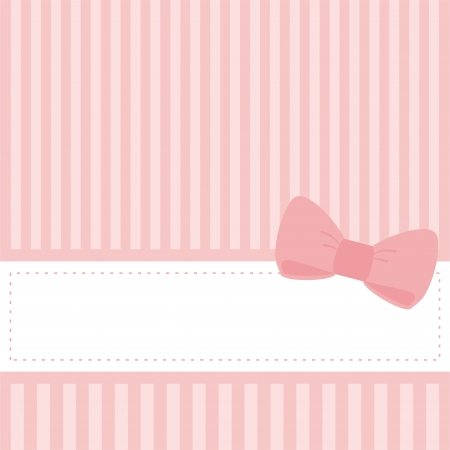 put: Pink card or invitation for baby shower, wedding or birthday party with stripes and bow. Cute background with white space to put your own text. illustration