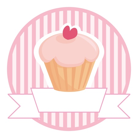 Sweet retro cupcake on pink vintage strips background with white place for your own text. Button, logo or wedding invitation card. Vector