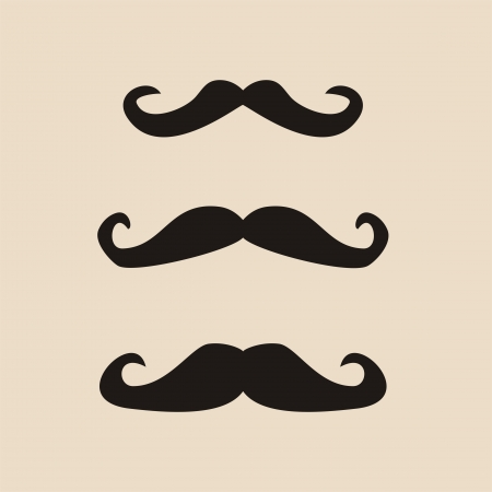 sideburns: Set of curly vintage retro gentelman mustaches