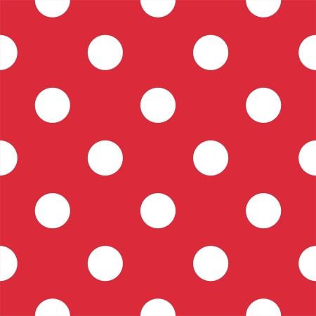 Retro pattern with white polka dots on red background Vector