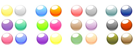 A collection of blank, glowing, colorful circular web buttons. Vector