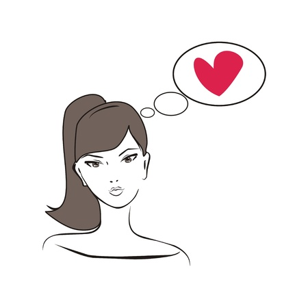 confused person: Young, hand drawn in simply glamour design style, thinking girl with brown hair and heart. Illustration isolated on white background. Woman with love on her mind Illustration