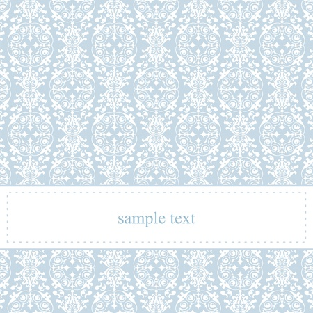 Sweet, blue card or invitation for party, birthday, baby shower or wedding with white classic elegant lace. Cute background with white space to put your own text message. Vector