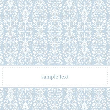 Tarjeta de dulce, azul o invitación para la fiesta de cumpleaños baby shower, o una boda de blanco encaje elegante y clásico. De fondo linda con el espacio en blanco para poner su propio mensaje de texto. Ilustración de vector