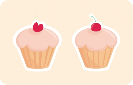 Sweet retro cupcakes silhouettes with red cherry and heart on top isolated on pink background  I love sweets  Wedding or birthday sweet muffins logo - vector illustration  Vector