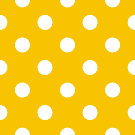 Vector seamless pattern with big white polka dots on a sunny yellow background. For cards, invitations, wedding or baby shower albums, backgrounds, arts and scrapbooks. Vector